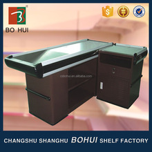 High quality supermarket retail promotion wood cashier counter desk