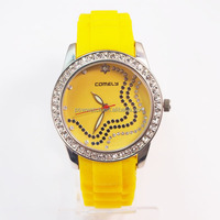 2014 new Japan movt stainless steel back lady vogue watch,yellow silicone band quartz geneva watch