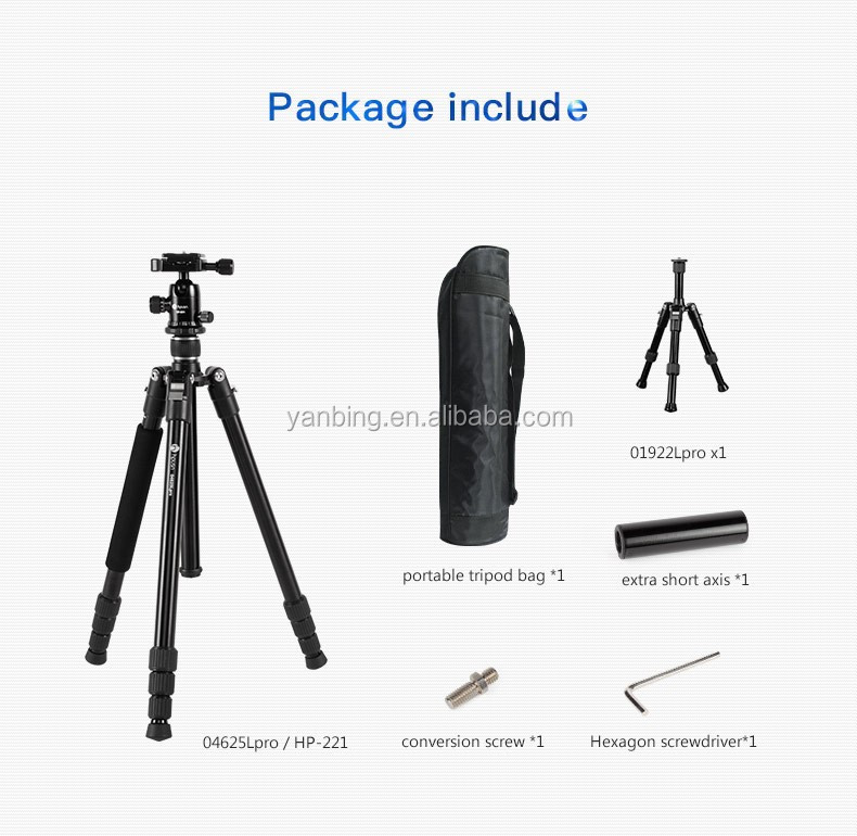 New updated aluminum alloy light weight table studio tripod with Pro CNC ballhead for DSLR Camera