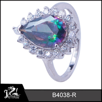 Women fashion mystic topaz 925 silver jewelry wedding dress ring