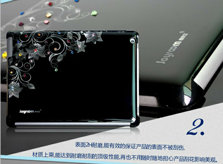 2012 new design ctystal for waterproof hard case ipad