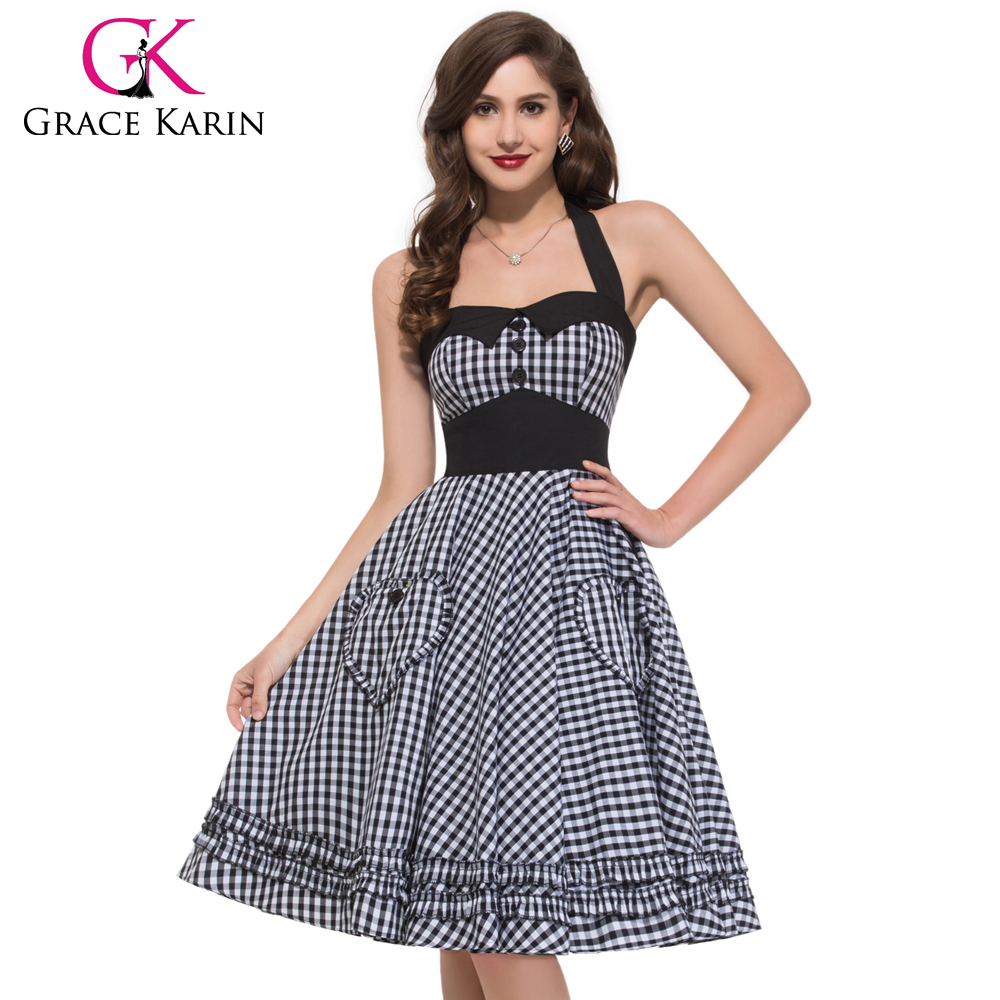 Grace Karin Summer Dress Plus Size Women Clothing Retro Swing Gown Pin up Plaid Robe Vintage 60s 50s Rockabilly Dresses CL6091-1