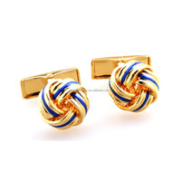 Blue paint plated 18K gold Stainless Steel Love Knot Cufflinks for Men