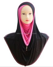 popular jersey cotton long hijab hoody,big size muslim hijab with rhinestones HW031