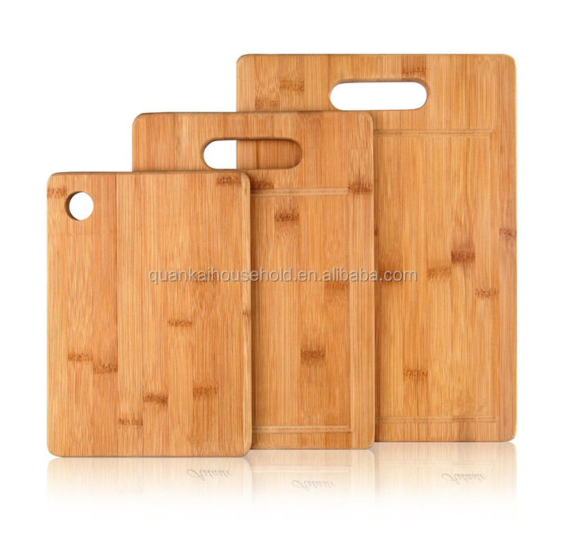 3 Piece Bamboo Cutting Board Set with juice groove and handle, great for serving cheese and crackers