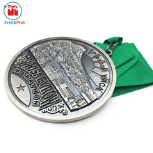 2017 High Embossed Antique silver marathon medal with green ribbon