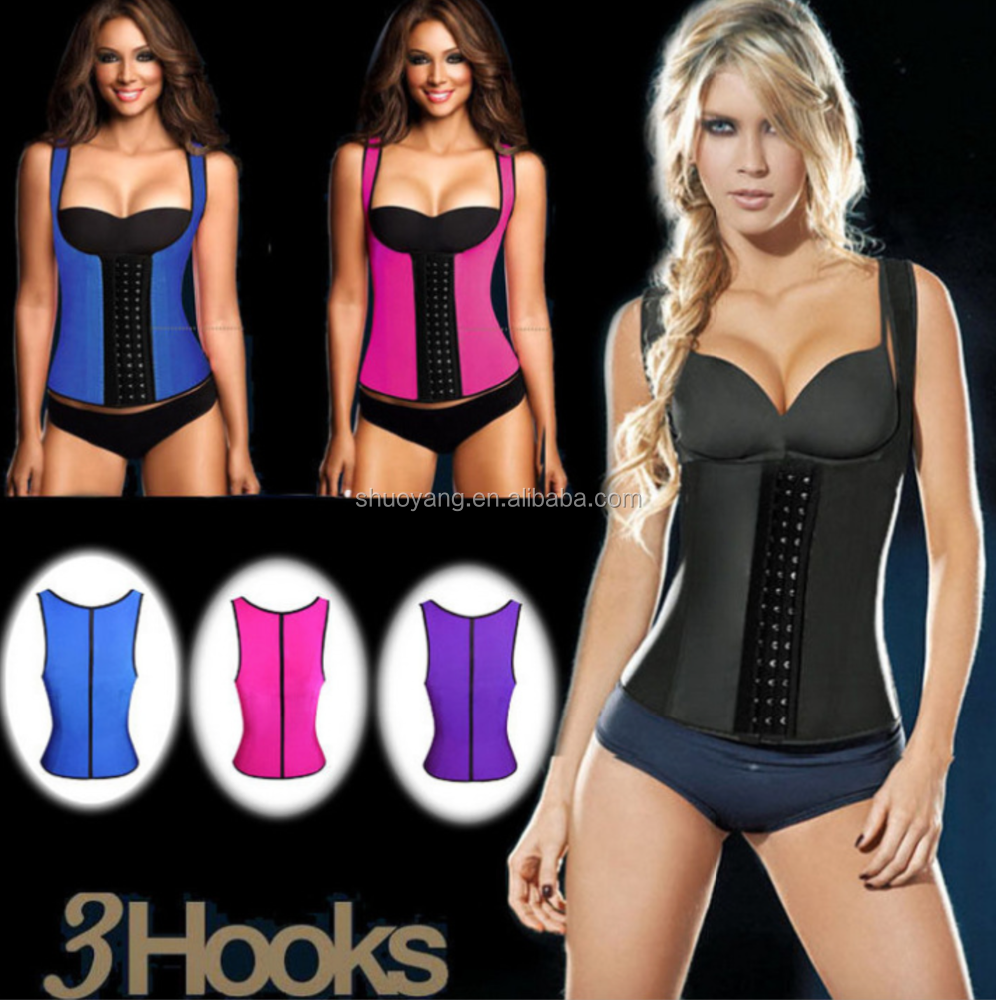 high quality vest 3material latex corset slimming suit Sports waist trainer body shaper latex waist cincher