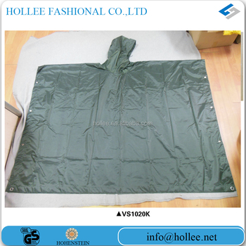 210T polyester with PVC coating army check rain poncho