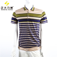 Casual top men's short sleeve t shirt stripe 100% cotton clothing