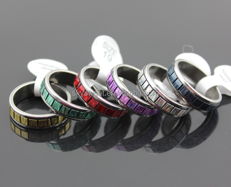 mix patterns more color rainbow ring wholesale rings stainless steel (SWTMD1189)