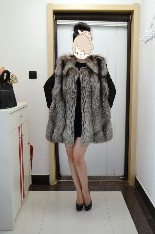 2015 Janefur Lady's Fashion Fox Fur Vest Silver Fox Fur Gelits