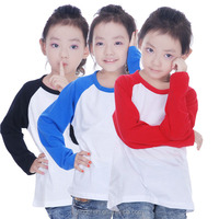 Kids Cotton Slim-Fit Plain T-Shirt Raglan Long-Sleeved White Blouse Casual-Shirt Baseball Blank T Shirt