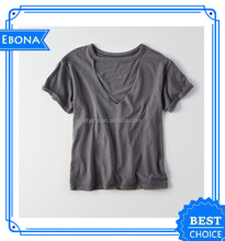 2017 High Quality Custom Lady Basic Short Sleeve Loose Blank Women V-Neck Elastane T-Shirts Top