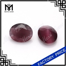 Factory manufacture Oval glass stone synthetic red cat eye gemstone