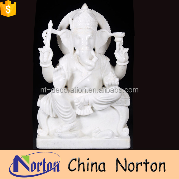 Pure white seated indoor marble ganesh murti statues NTMS-R048Y