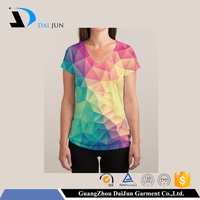 custom color change cotton v shape sublimation sport women t shirt