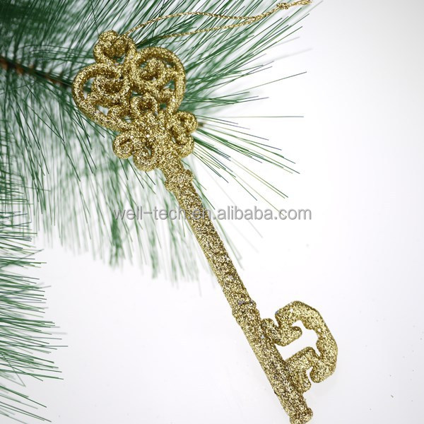 2015 new glittered plastic golden key Christmas ornament