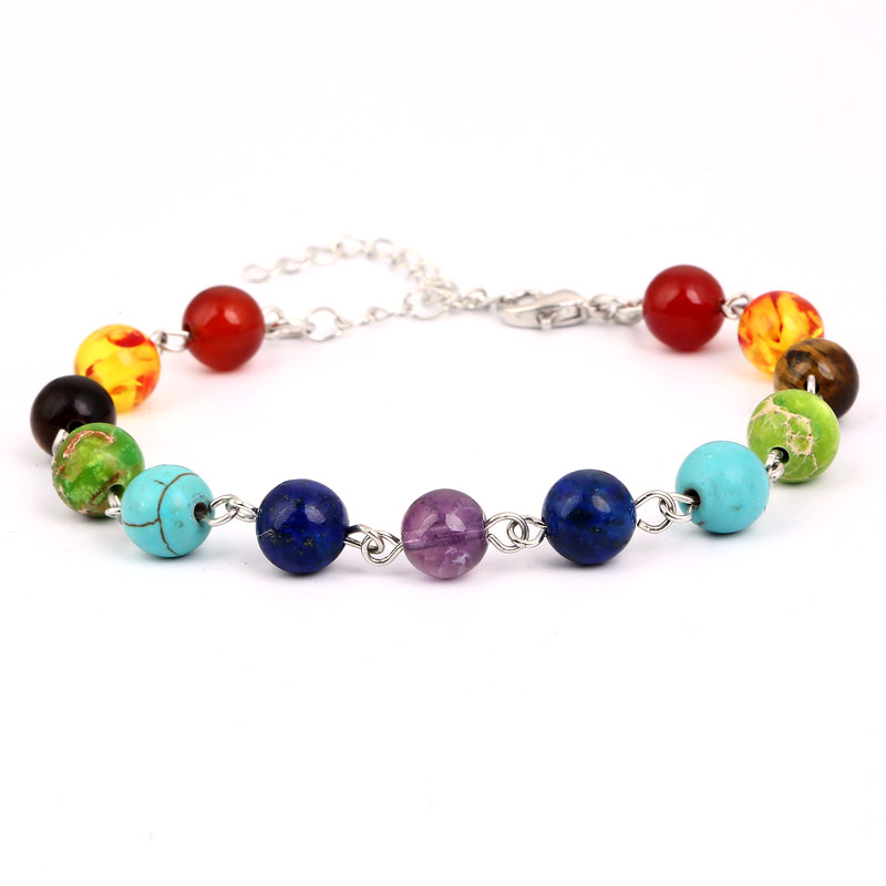Yoga 7 Chakra Rosary Beads Bracelet 8mm Natural Stone Purple Tiger Eye Blue Gold Beads Bracelet