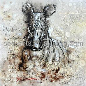 Handmade Abstract Zebra Oil Painting On Canvas