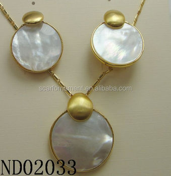 Moti Wedding Jewelry Designs Simple Shell Round Pendant necklace And