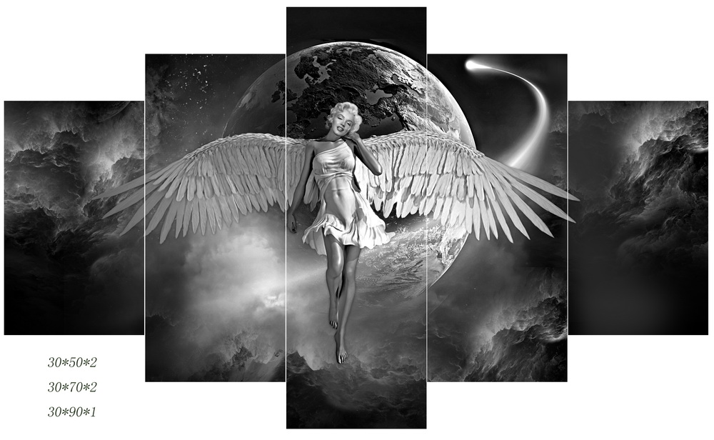Sexy Female Angel 5 Multi Panel Canvas Print Painting