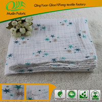 Organic Cotton Wrap Baby Printing Fabric Muslin Blanket