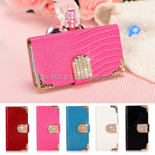 Diamond magnetic Leather wallet flip mobile phone case cover for apple iphone 4 4s