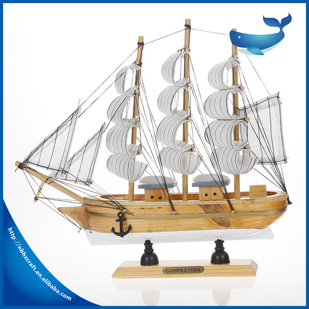 wooden craft boat decoration wooden sail boat handicraft