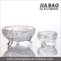 7pcs Sun Flower Design Carved Glass Bowl Set with Stand