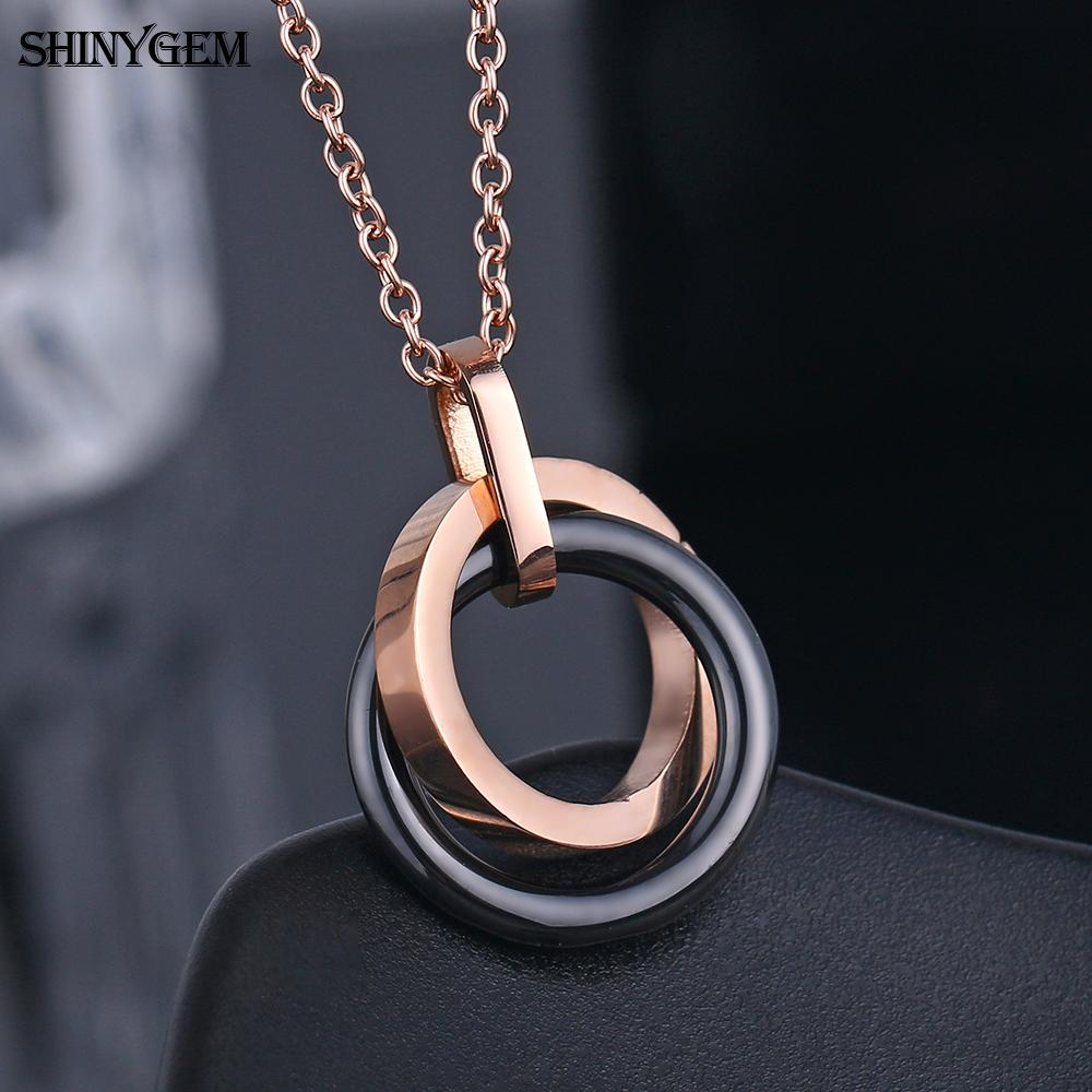 Circle rose gold plated titanium fashion accessories ceramic pendant charms stainless steel jewelry necklace for women girls
