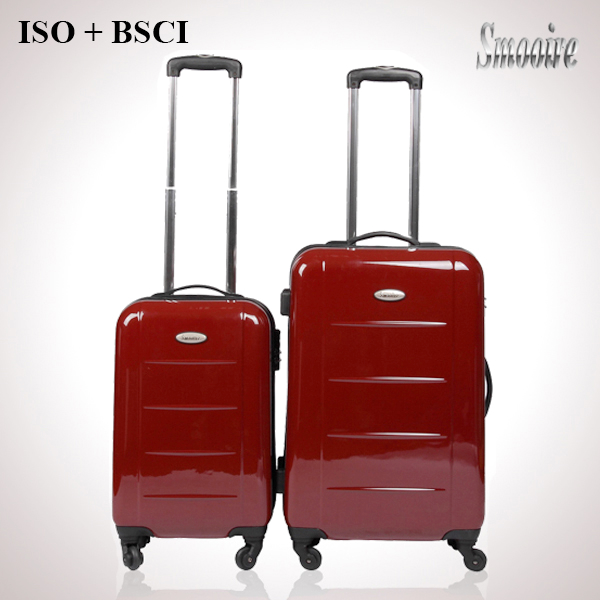 classic wine red 100% PC trolley travel bag with wheels