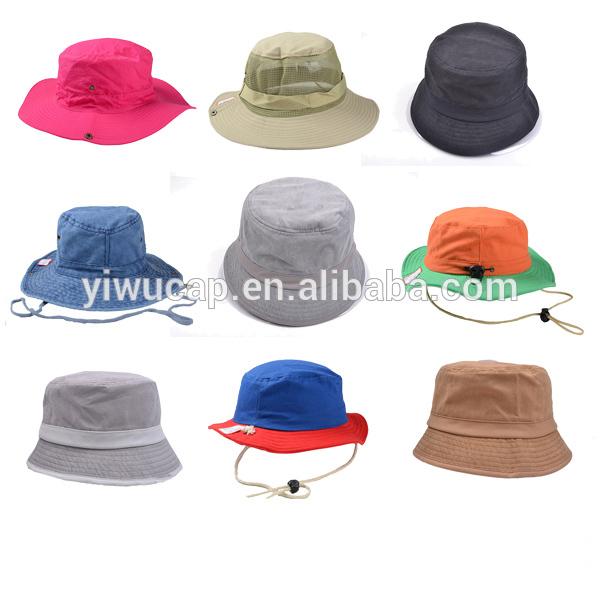 Many types of bucket hats 100% twill cotton cheap new summer custom funky safari fishing hiking unisex bucket hats with string