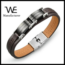New Products 2017 Fashion Jewelry Men Stainless Steel Leather Bracelet Accessories Male Birthday Present