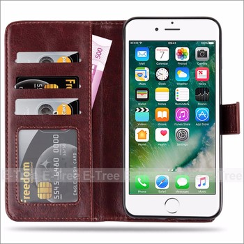 New arrival shockproof 2 in 1 flip stand pu leather case for iphone 7 plus