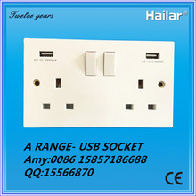 Arange--13A 2 gang switched socket with two USB outport max total current 3.1AMP,usb socket, wall socket with usb port