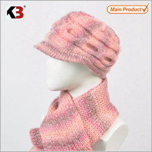 2015 Top sale beautiful adult women's rainbow designer scarf shawl and hat set/fashionable scarf hat set