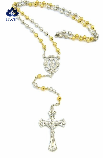 Kite Jesus Cross and Oval Mary Pendant Ball Chain Rosary Silvery and Gold Bicolor Necklace