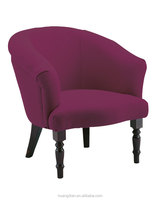 Cheap price modern hotel chair furniture wooden purple fabric leisure tub chair