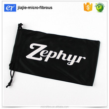 Pvc bag package eyeglass microfibre pouch black cloth with white print