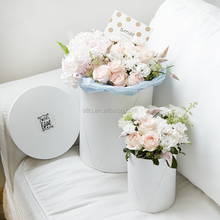 2016 Custom Special paper Decoration Gift Flower Box with ribbon handle
