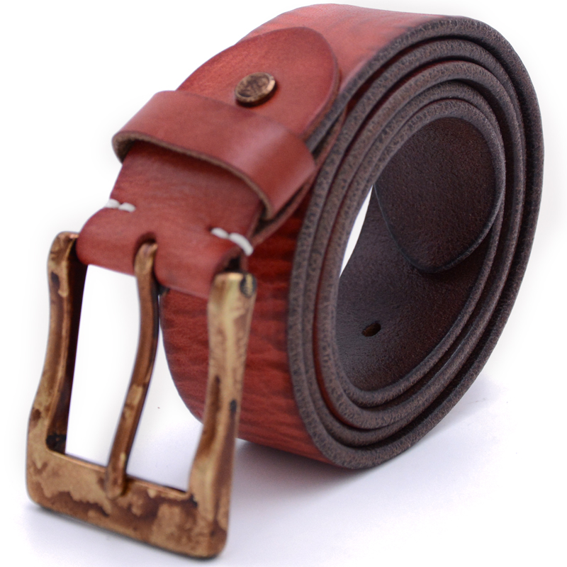 Alibaba online wholesale cowhide top grain genuine leather brass buckle men <strong>belt</strong>