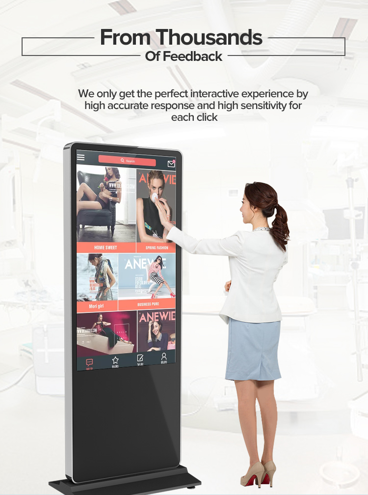 HD 1080P LCD floor standing multi touch screen digital signage advertising player