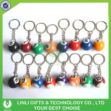 Hot Selling Custom Promotion Polyresin Colorful Keychain Billiard Ball