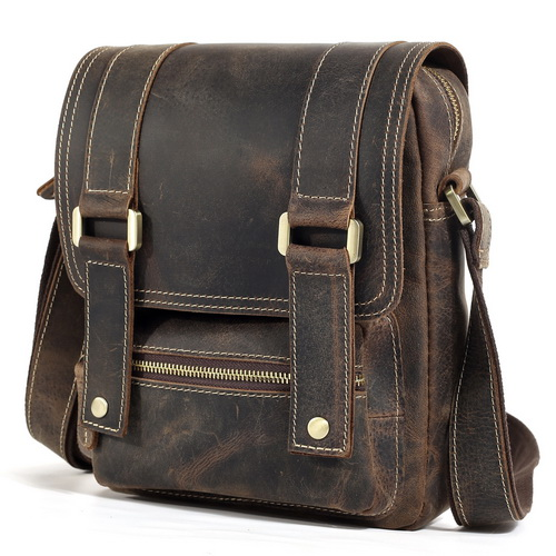 Leather Small Satchel for iPad Cool Vintage Style Messenger Bag with Flip Cover 1172