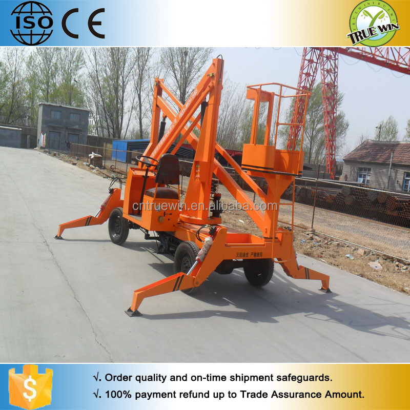 Folding hydraulic trailing man lift machine / truck mounted crank lift platform