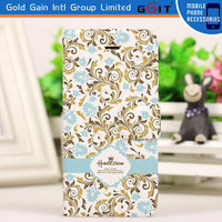 New Arrival Flower Pattern Flip Cover PU+PC Case for iPhone 5 With Button