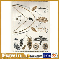 Metallic gold temporary tattoos flash tattoos inspired japanese tattoo