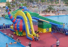Exciting playground game giant inflatable water slide for kids