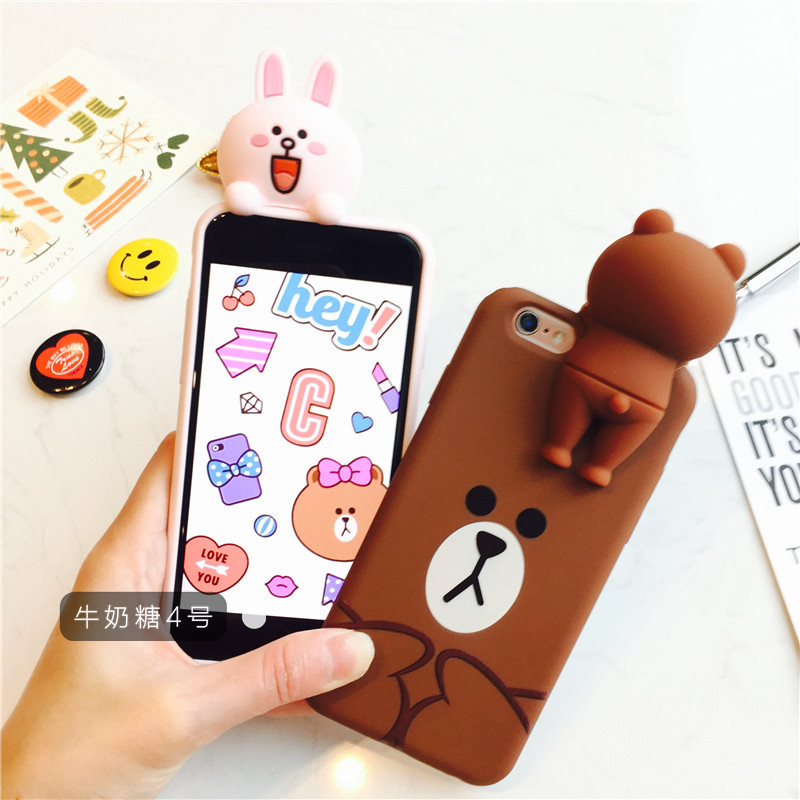 New Coming Fashion Lovely Cutte Bear Animal Soft Silicon Cover Case For Iphone6/6Plus