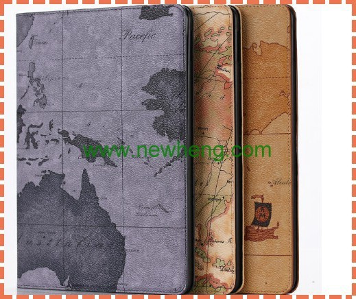 New Arrival World Map Stand PU Leather Smart Cover Shell Case For iPad 6